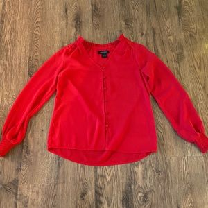 EUC red button-up blouse💥